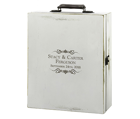 Personalized Rustic Antique Wood White Wine Box