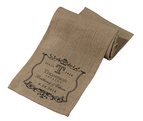 Personalized Burlap Table Runner Name Vineyard