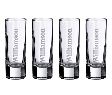 Personalized Brewery Set of 4 Tall Shot Glasses