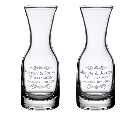 Personalized Rustic Vineyard Theme Wine Carafes