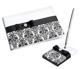 Black and White Damask Wedding Guest Book Pen Set