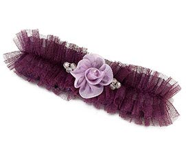 Dark Purple Plum Flower Tulle Prom Wedding Garter