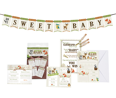 Woodland Baby Shower Party Theme Decor Game Set