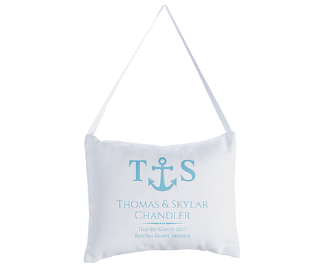 Personalized Coastal Beach Wedding Ring Pillow