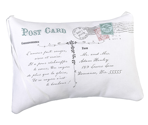 Personalized Vintage Post Card Wedding Ring Pillow