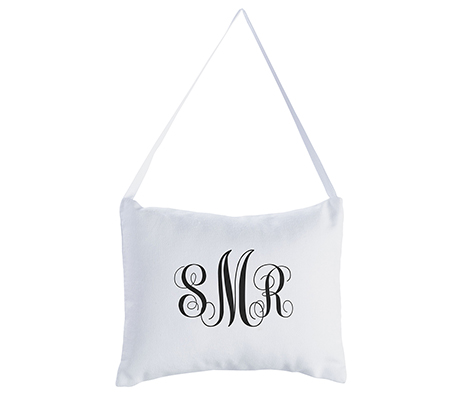 Personalized Monogram Canvas Wedding Ring Pillow