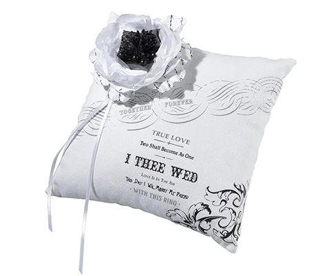 Classic Black and White Wedding Ring Pillow