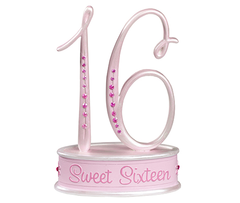 Sweet Sixteen 16 Theme Party Pink Cake Topper