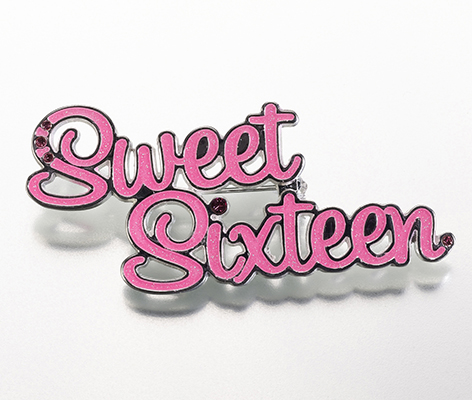 Sweet Sixteen 16 Theme Party Birthday Girl Pin