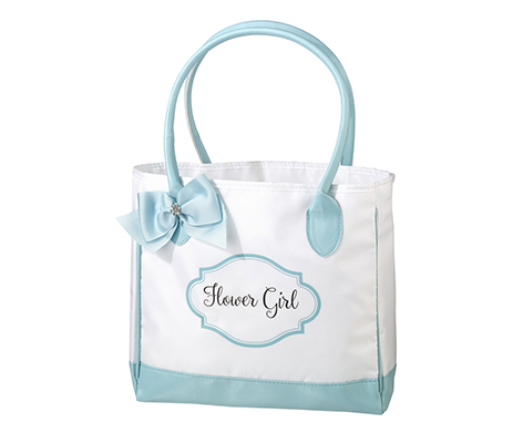 Aqua & White Flower Girl Tote Bag
