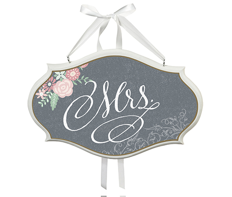 Black Mrs. Vintage Wedding Chair Sign Home Decor