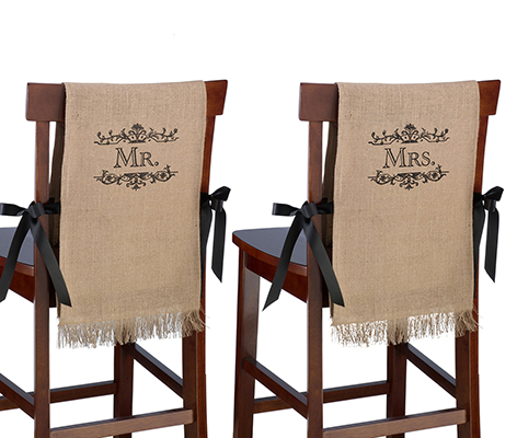 Mr. and Mrs. Rustic Burlap Chair Covers Decor