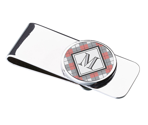 Argyle Monogram Wedding Gift Money Clip