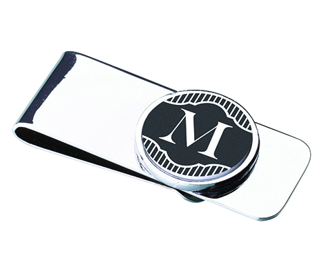 Black Band Monogram Wedding Gift Money Clip