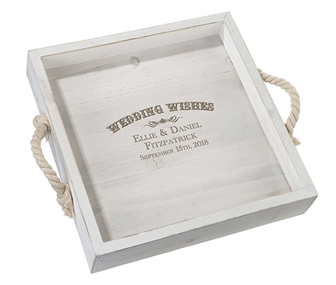 Wood Wedding Tray with Rope Handles Wedding Wishes