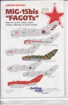 "CUTTING EDGE 1/72 MIG-15 ""FAGOT"" SHEET 2 SOVIET, CUBAN, CZECH, CHINESE, ALBANIAN & SYRIAN AIRCRAFT"