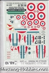 DECALS CARPENA 1/48 BATAILLE DE OF FRANCE 1939-1940 LA CHASSE FIGHTERS