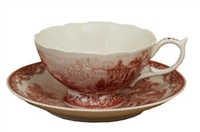 Cathedral Red Tea Cup & Saucer