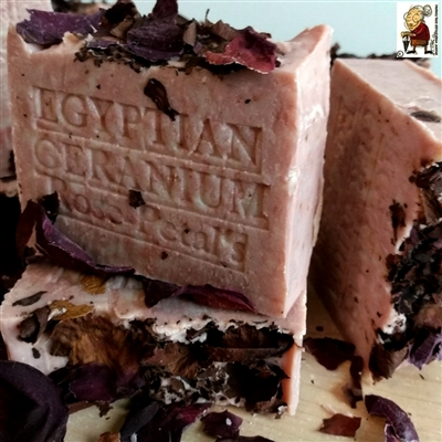 Natural Egyptian Geranium Soap with French Rose Clay    Artisan Handmade Bar Soap