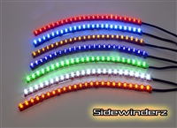 Flexibe LED strips in a variety of colors, with 3m tape on 3 sides.
