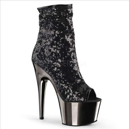 Black Sequins Dark Pewter Chrome Ankle Boots