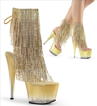 Fade To Gold Platform Ankle Boots With Fringe
