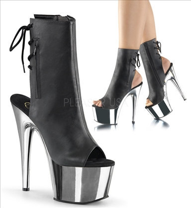 Black Faux Leather Silver Chrome Platform Boot