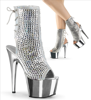 Diamond Cut Rhinestones Boot Open Toe