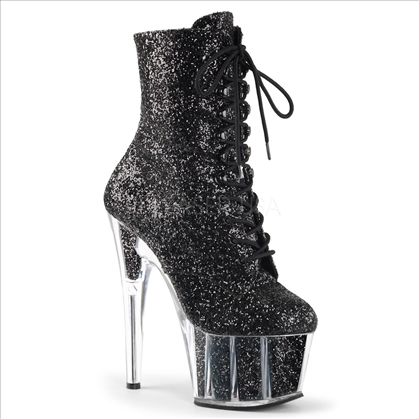 Midcalf Tie Up Front Black Glitter Ankle Boots