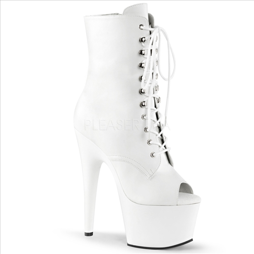 White Matte Fantasy Ankle Boot Lace Up Front