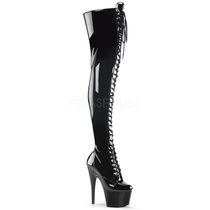 Bdsm Black Stretch Patent Leather Thigh High Boot