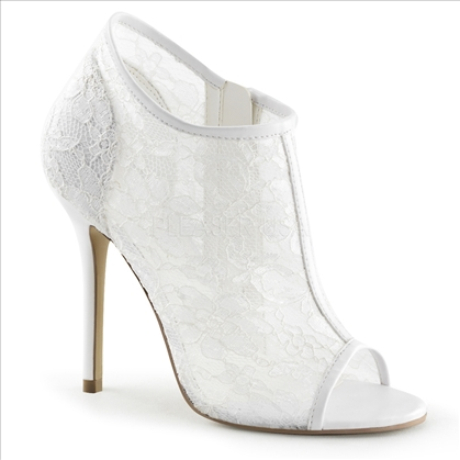 The ivory lace mesh Victorian style shoe is also incredibly glamorous with a white patent leather trim around the open toe and anklet with a thin white trim.