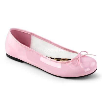 Enjoy these baby pink patent leather adult ballet flats in sizes 9 through 16. Very comfortable and easy to wear are these classic flats with a simple bow accent.