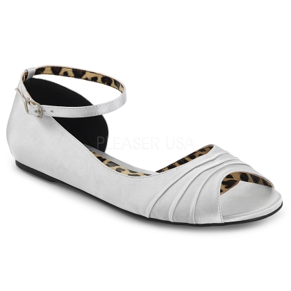 Match these silver satin open inner side, open toe, and single strap D'Orsay shoes with any outfit at any time. You'll love the comfort of these flats.