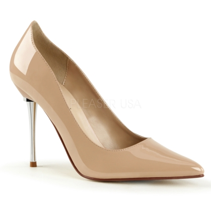 A nude pair of 4 inch metal stiletto heel shoes are perfect to wear with a business suit and nude nylons. Styled with a sharp pointed toe and open slip on design.