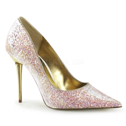 You will love these rose glitter pumps with a soft pink tone and sparkling design. Stylish and ready for exquisite events, these shoes have a 4 inch chrome heel.