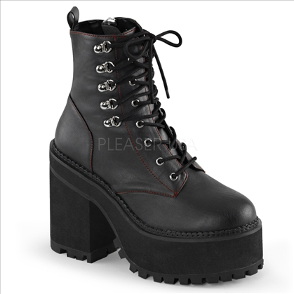 The Demonia women's vegan boot is featured here with a 4 3/4 inch block heel, 2 1/4 inch platform, double D-ring, lace up front, ankle boot with red stitch detail.