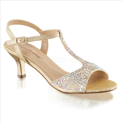 Walking the aisle in these stunning wedding shoes in nude fabric with silver multi-rhinestones have a T strap attached ankle strap with the 2 1/2 inch heel.