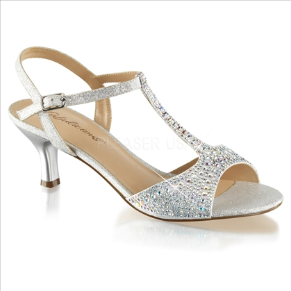 Walk the aisle in these stunning wedding shoes in silver shimmering fabric with silver multi-rhinestones with the T strap attached ankle strap.