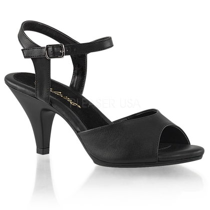 A simple but elegant shoe are these 3 inch heel, ankle strap sandals attractively featured here in black faux leather with an open toe design.