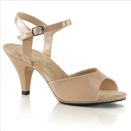 A simple but elegant shoe are these 3 inch heel, ankle strap sandals attractively featured here in nude patent leather with an open toe design.