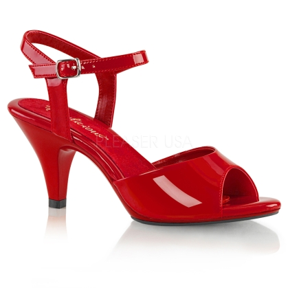 A simple but elegant shoe are these 3 inch heel, ankle strap sandals attractively featured here in red patent leather with an open toe design.