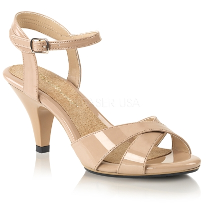 Nude Patent Criss Cross Ankle Strap Sandal