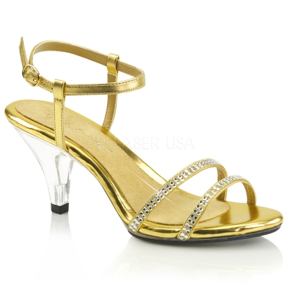 A desired shoe featured here with a clear heel, gold insole and gold straps. The style of the back straps have 2 bands, one on each side around the ankle.