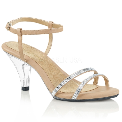 A desired shoe featured here with a clear heel, nude faux leather insole and nude straps. The style of the back straps have 2 bands up around the ankle.