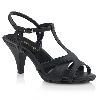 Wear these low heel, low platform black faux leather, T strap sandals. These shoes have a 3 inch heel, strappy vamp and a crisscross ankle strap.