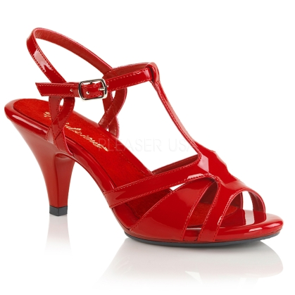 Cross-dressing is fun when you wear these low heel, low platform red patent leather, T strap sandals. 3 inch heel, strappy vamp and a crisscross ankle strap.