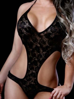 Body Zone Lace Cheeky Romper 1810LA