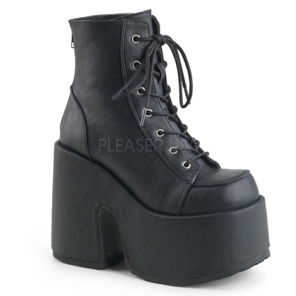 Black Vegan Leather Chunky Heel Ankle Boot