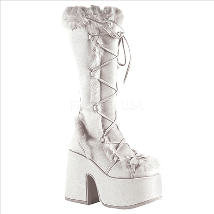 White Demonia Suede Stack Boots